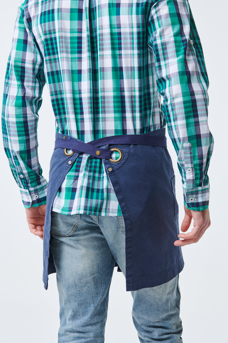 ARCHIE Waist Apron with textured tape straps - Navy Canvas