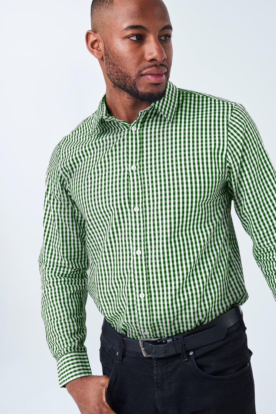 TEDDY Essential Gingham Mens's Shirt - Olive 'NEW COLOUR'
