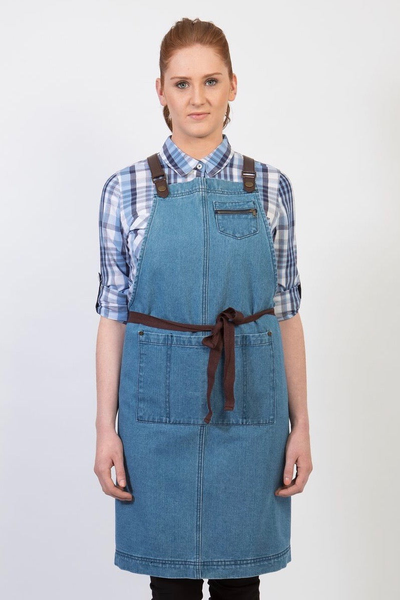 UBD Denim 2 Pocket BERMUDA Apron with PU Leather Straps - Vintage Blue/Chocolate Straps