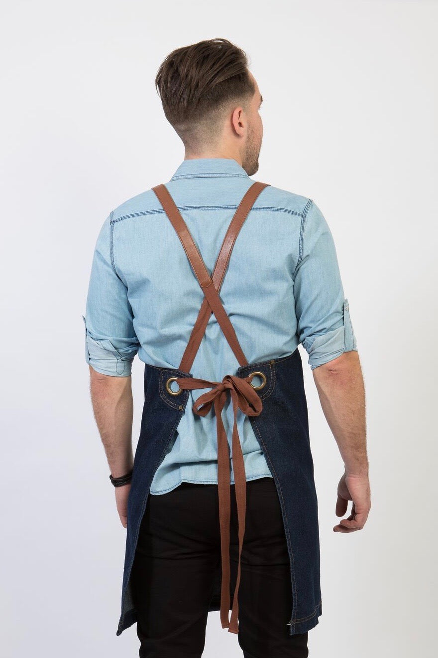 UBD DENIM Apron with PU Leather Strap - INDIGO/ TAN STRAP
