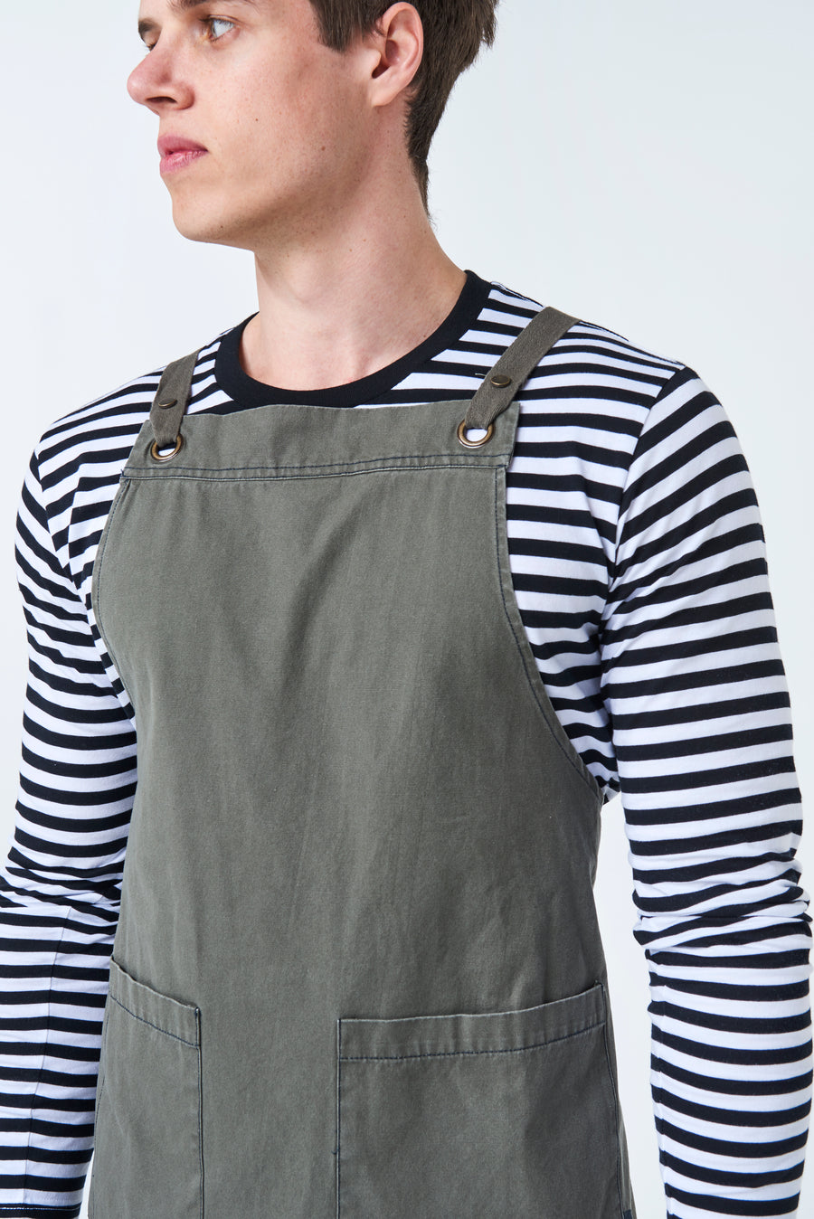 ARCHIE Waist Apron with textured tape straps - Khaki Canvas
