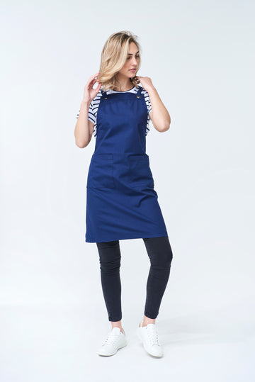 ARCHIE Apron with textured tape straps - Navy Canvas