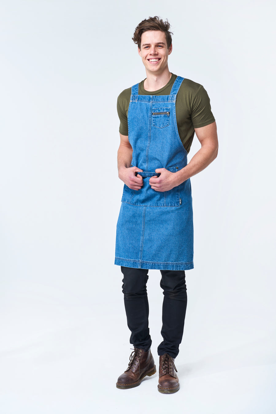 HAMPTON DENIM 2 pocket Apron - Vintage Blue