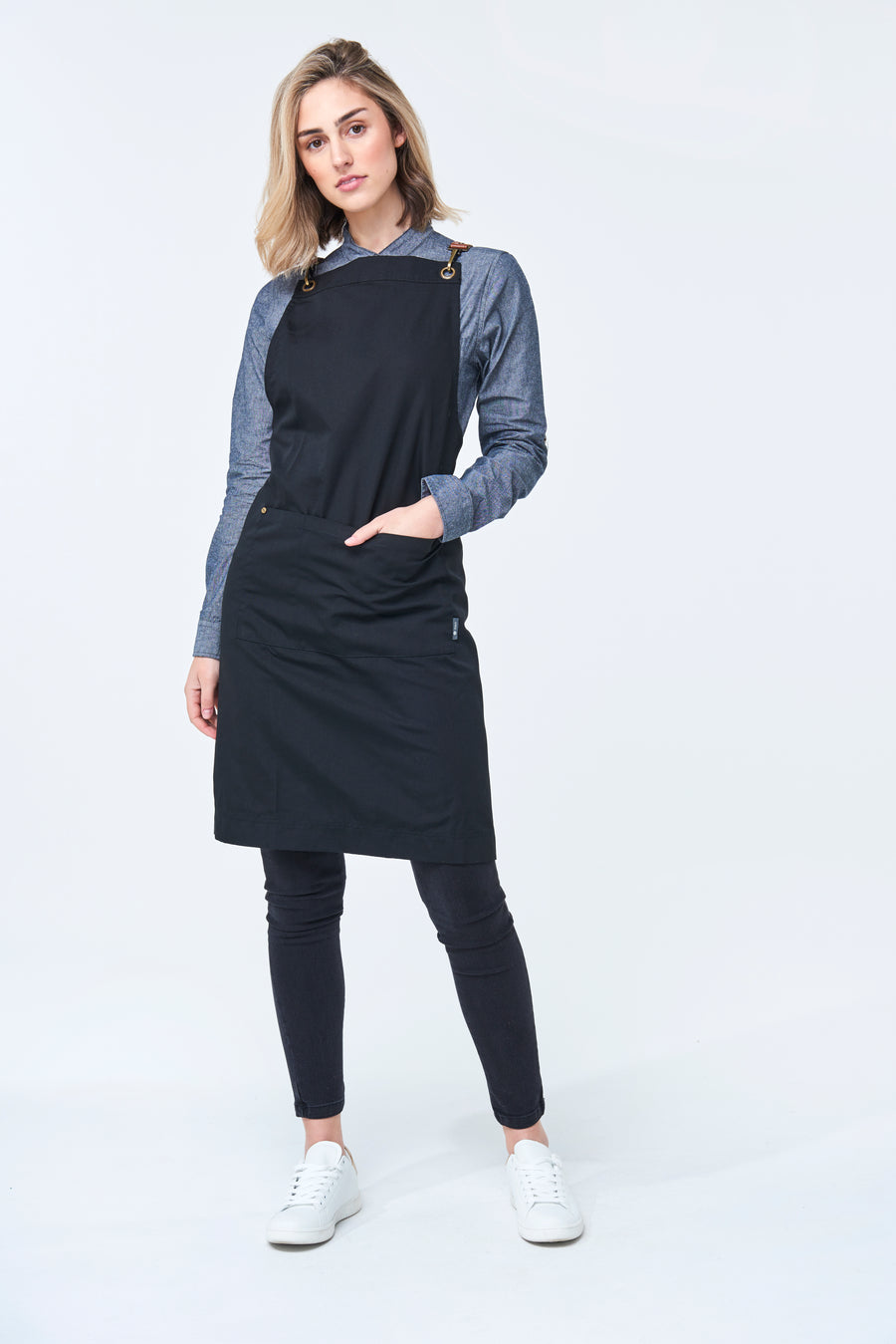CHARLIE CHEF Long Sleeve shirt with Black tab and metal snaps Woman's - SLATE