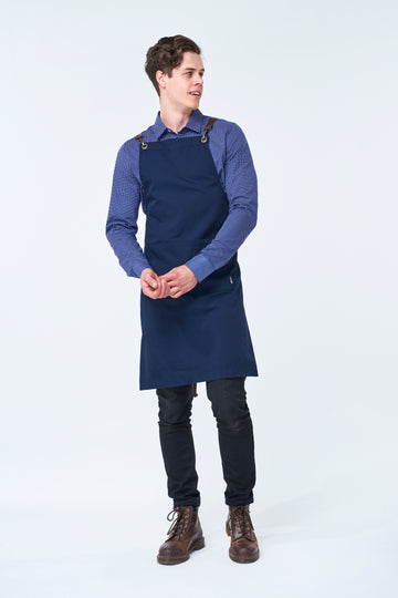 ATLANTA Metal Hook PU LEATHER Strap Apron - Navy