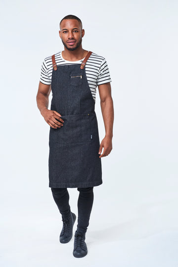 PRE ORDER BERMUDA Apron with PU Leather Straps - Black Denim