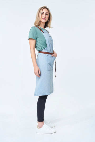 BERMUDA Denim Apron with PU Leather Straps - Bleached Denim