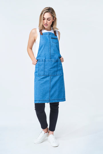 PRE ORDER BERMUDA Apron with PU Leather Straps - Vintage Blue Denim