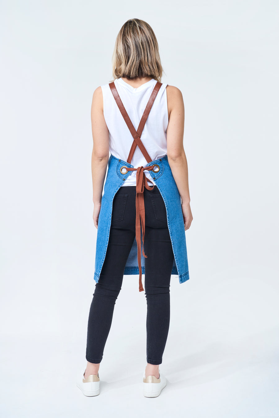 BERMUDA Apron with PU Leather Straps - Vintage Blue Denim