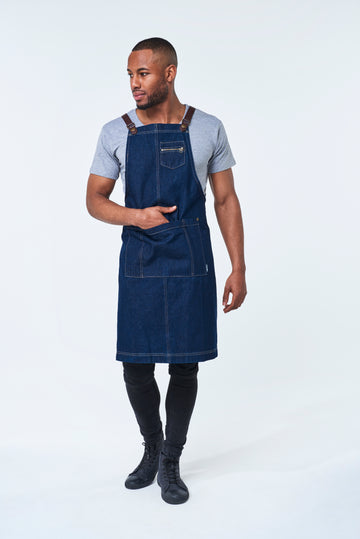 BERMUDA Apron with PU Leather Straps - Indigo Denim