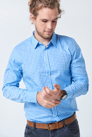 TEDDY Essential Gingham Mens's Shirt - Pale Blue