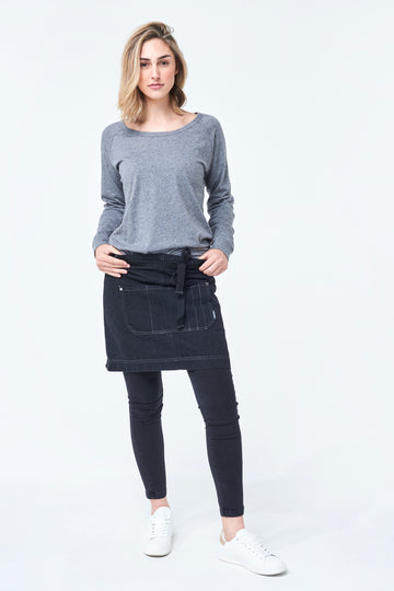 MELBOURNE Waist Denim Apron - BLACK