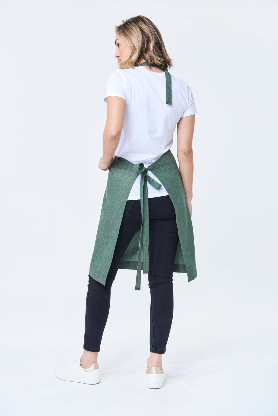 CLEMENTINE BIB Apron with metal trims - Forest Linen