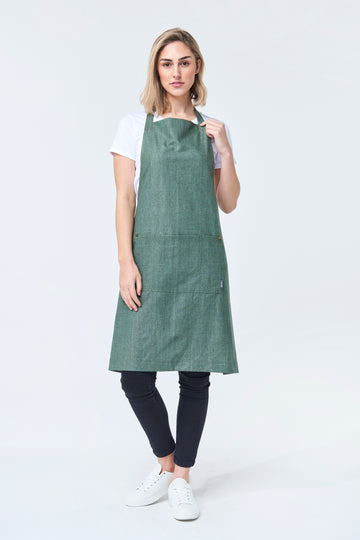 PRE ORDER CLEMENTINE BIB Apron with metal trims - Forest Linen