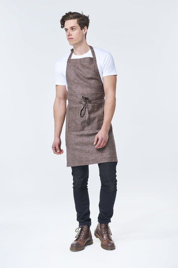 CLEMENTINE BIB Apron with metal trims - Chocolate Linen - Customized