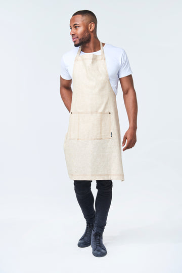 PRE ORDER CLEMENTINE BIB Apron with metal trims - Natural Linen