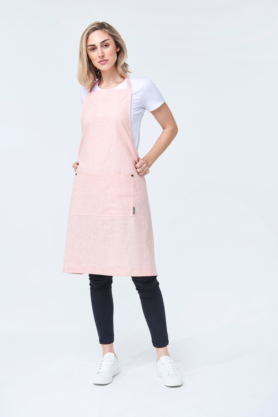 PRE ORDER CLEMENTINE BIB Apron with metal trims - Blush Linen