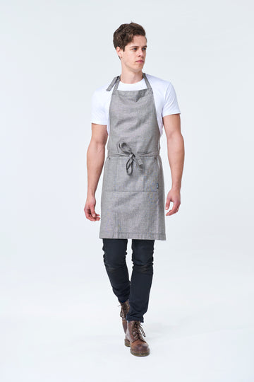 PRE ORDER CLEMENTINE BIB Apron with metal trims - Charcoal Linen