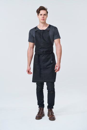 THEODORE Apron with PU Leather Strap - Black Linen