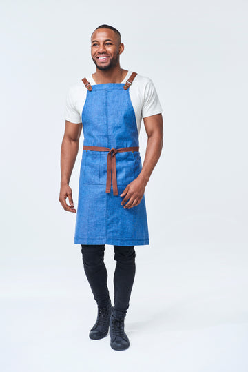 THEODORE Apron with PU Leather Strap - Marine Blue Linen
