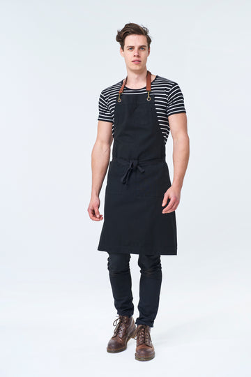 ORLANDO Apron with Leather neck strap - Black Canvas