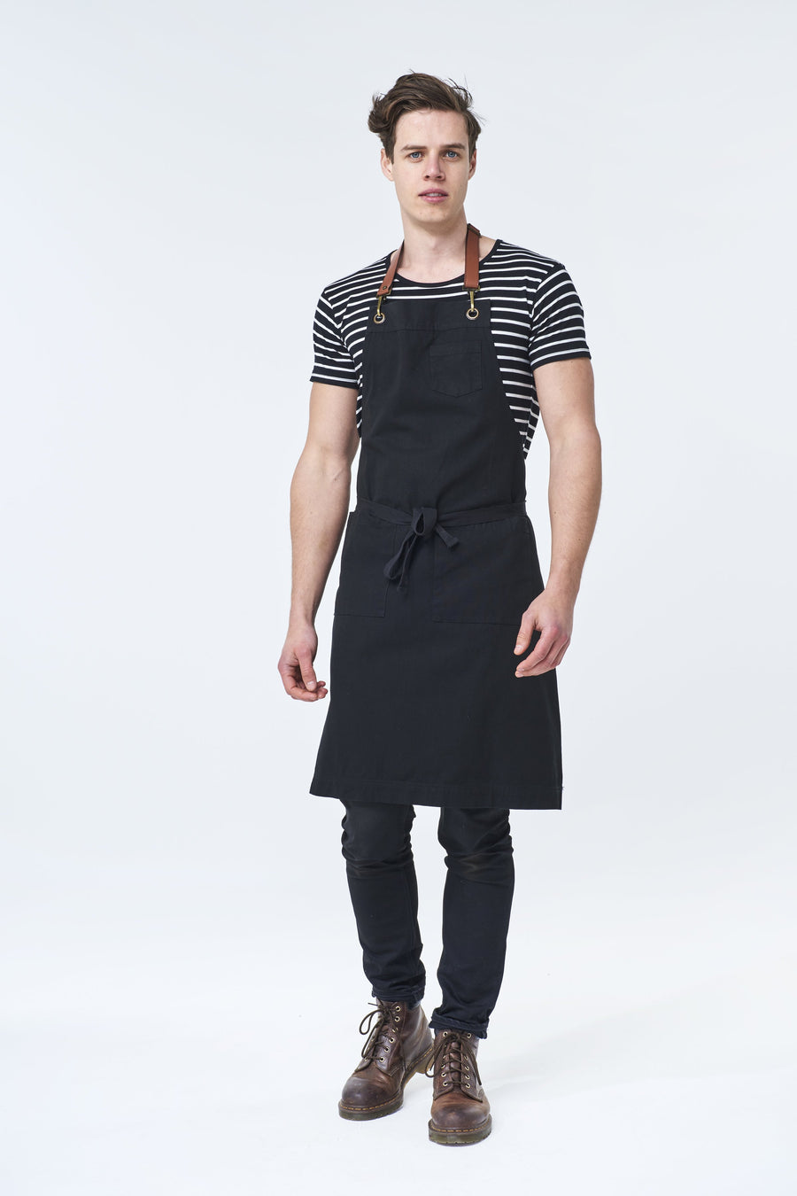 ORLANDO Apron with Leather neck strap - Black Canvas - Customized
