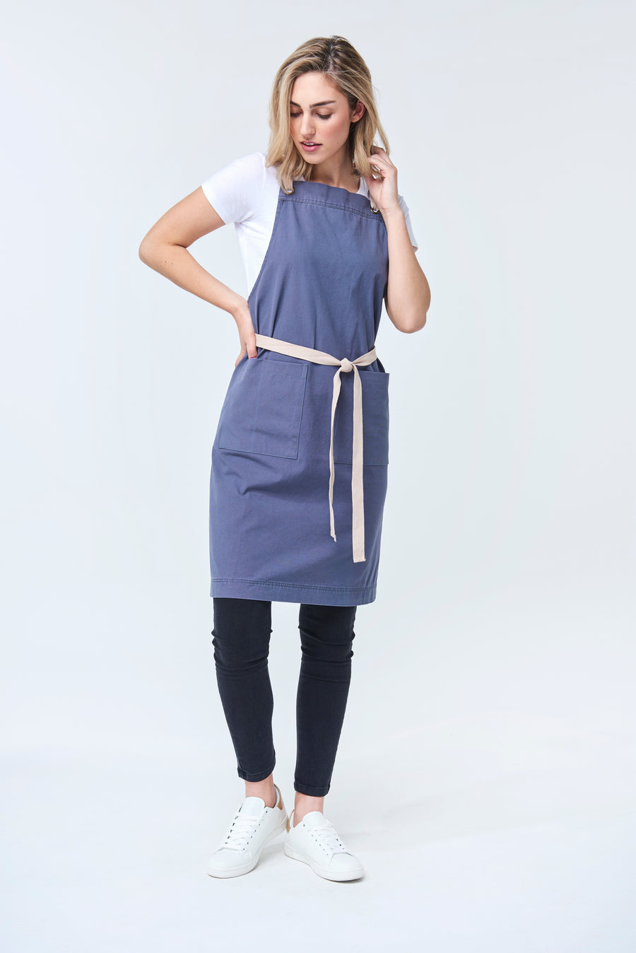 PRE ORDER ARCHIE Apron with textured tape straps - Stormi Canvas