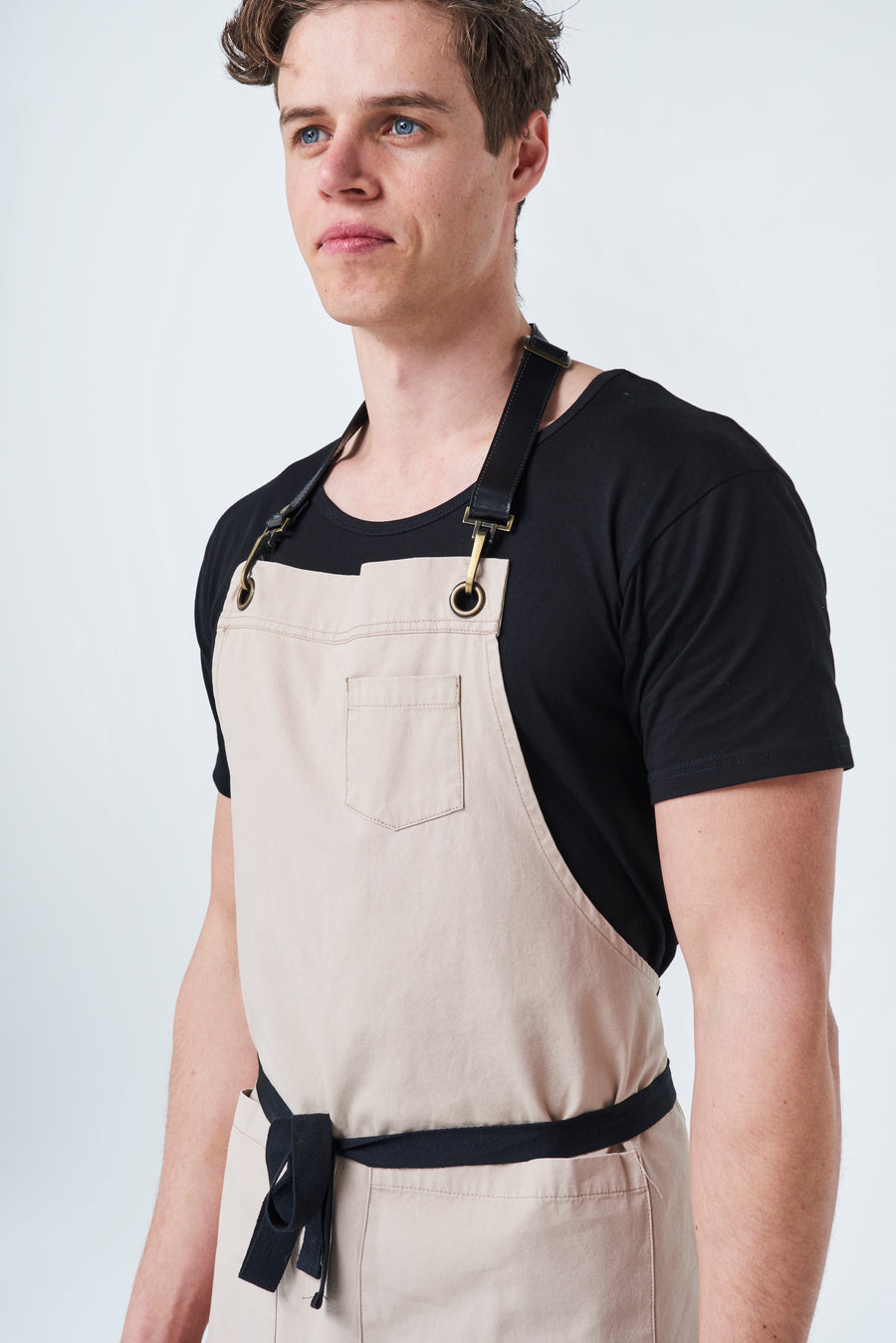 ORLANDO Apron with Leather neck strap - Stone Canvas