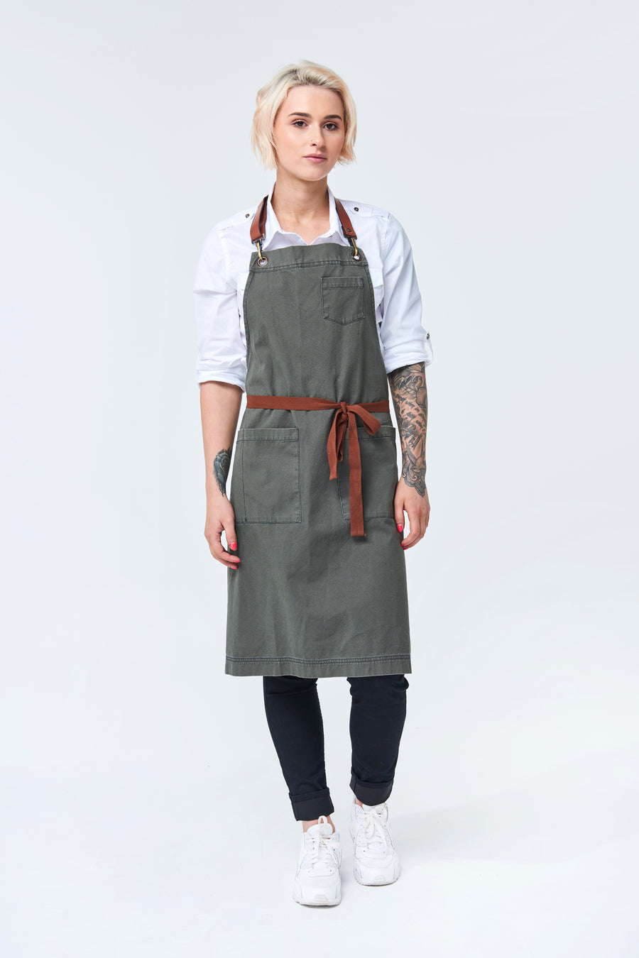 ORLANDO Apron with Leather neck strap - Khaki Canvas