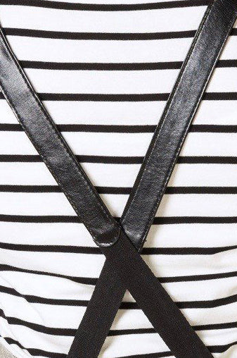 BERMUDA Apron with PU Leather Straps - Black Denim