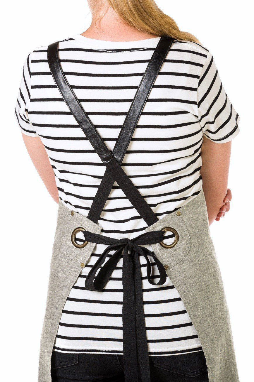 UBD Pu Leather Strap Apron  THEODORE V2 - Light Charcoal