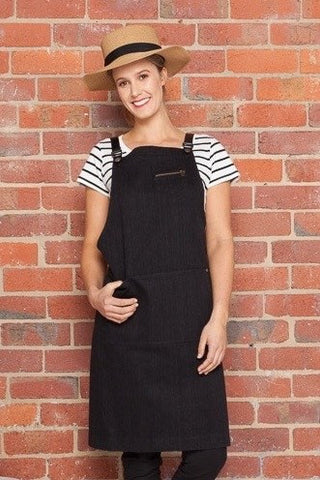 UBD Denim 2 Pocket BLACK HAMPTON Apron with COLOUR STRAP