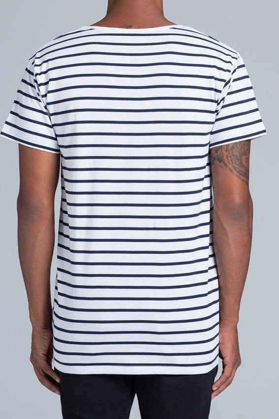 UBD Walter Stripe T-Shirt Mens - Dark Navy/White