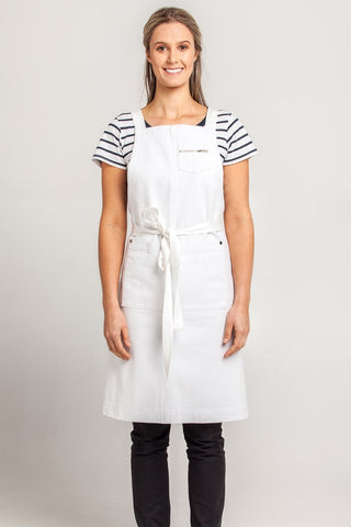 UBD Denim 2 Pocket Apron HAMPTON - White
