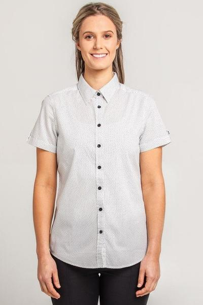 HARRISON Ladies Spot Shirt - Short/Long Sleeve - White