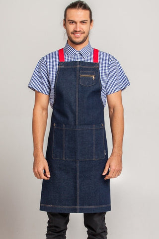 UBD Denim 2 Pocket Apron COLOUR STRAP HAMPTON
