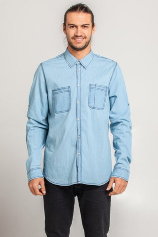 UBD 2 Pocket Denim SH/ SLV Shirt DEXTER - PALE INDIGO