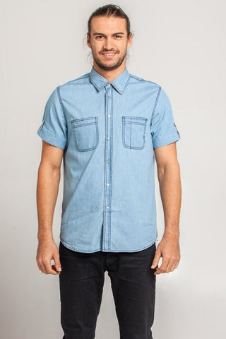 UBD Denim Trim Check SH/ SLV Shirt HARVEY - GREEN