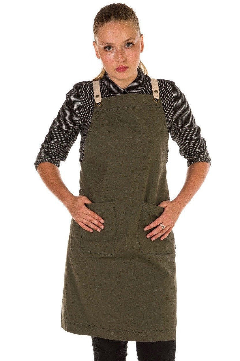 ARCHIE Apron with textured tape straps - Khaki Canvas