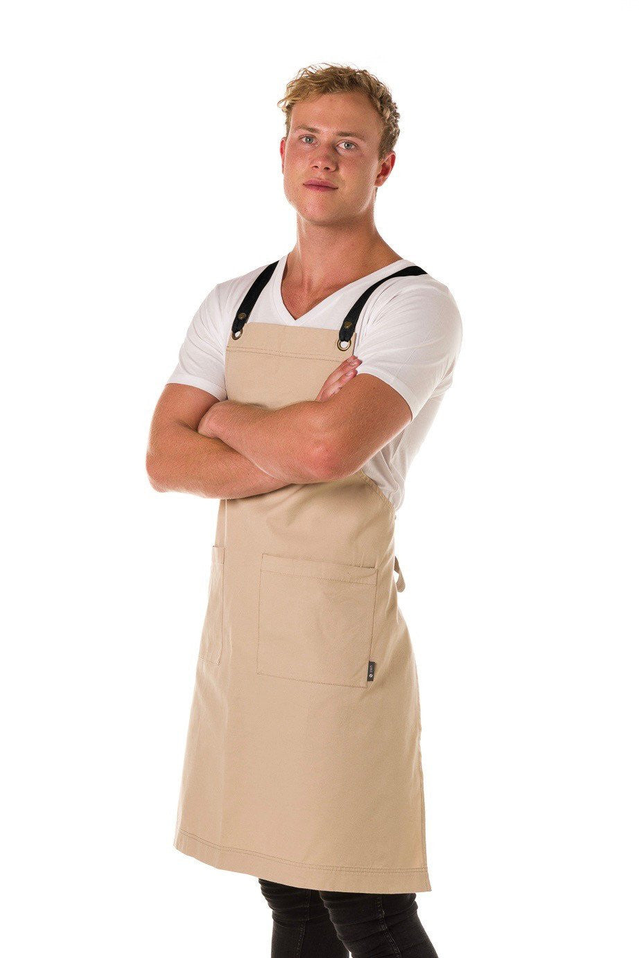 ARCHIE Apron with textured tape straps and 2 pkts - STONE