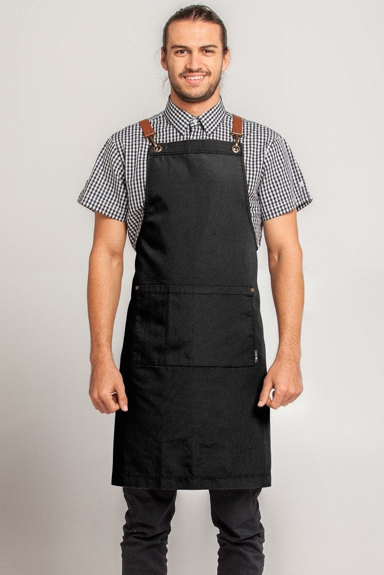 ATLANTA Metal Hook PU LEATHER Black/ Tan Strap Apron