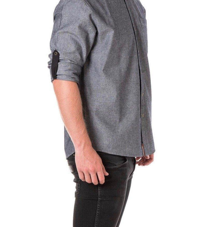 CHARLIE CHEF Long Sleeve shirt with Black tab and metal snaps Men's - SLATE