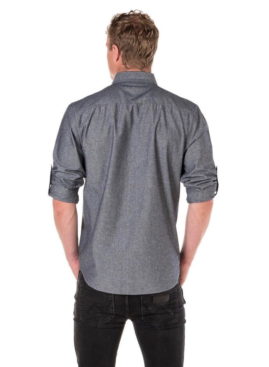 CHARLIE Long Sleeve shirt with Black tab and metal snaps Men's - SLATE