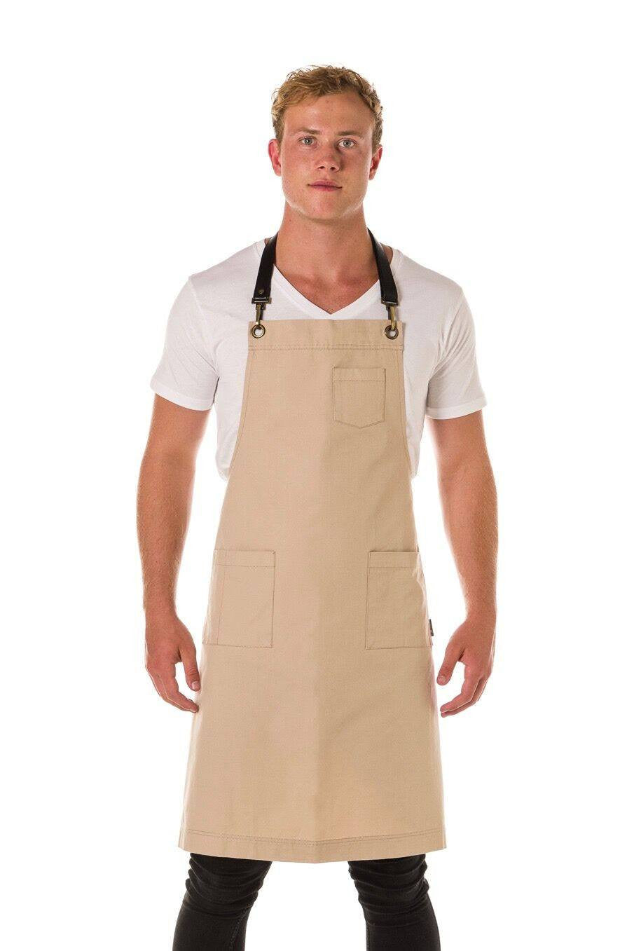 ORLANDO Apron with Leather neck strap and 3 pkts - STONE/ BLACK