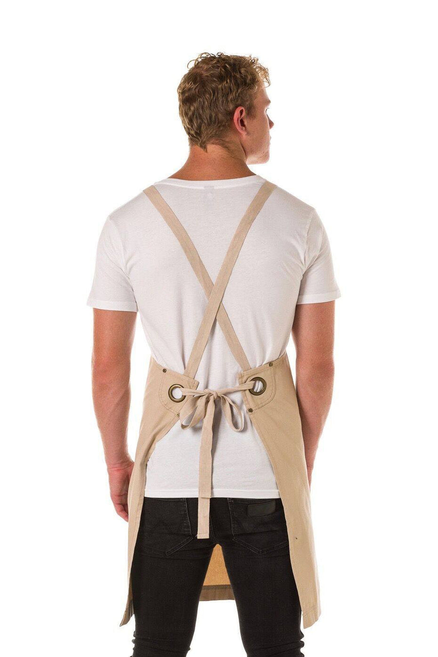 ARCHIE Apron with textured tape straps - Stone Canvas