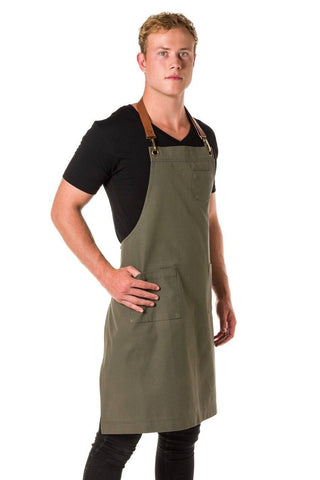 ORLANDO Apron with Leather neck strap and 3 pkts - KHAKI/ TAN