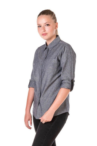 CHARLIE Long Sleeve shirt with Black tab and metal snaps - SLATE