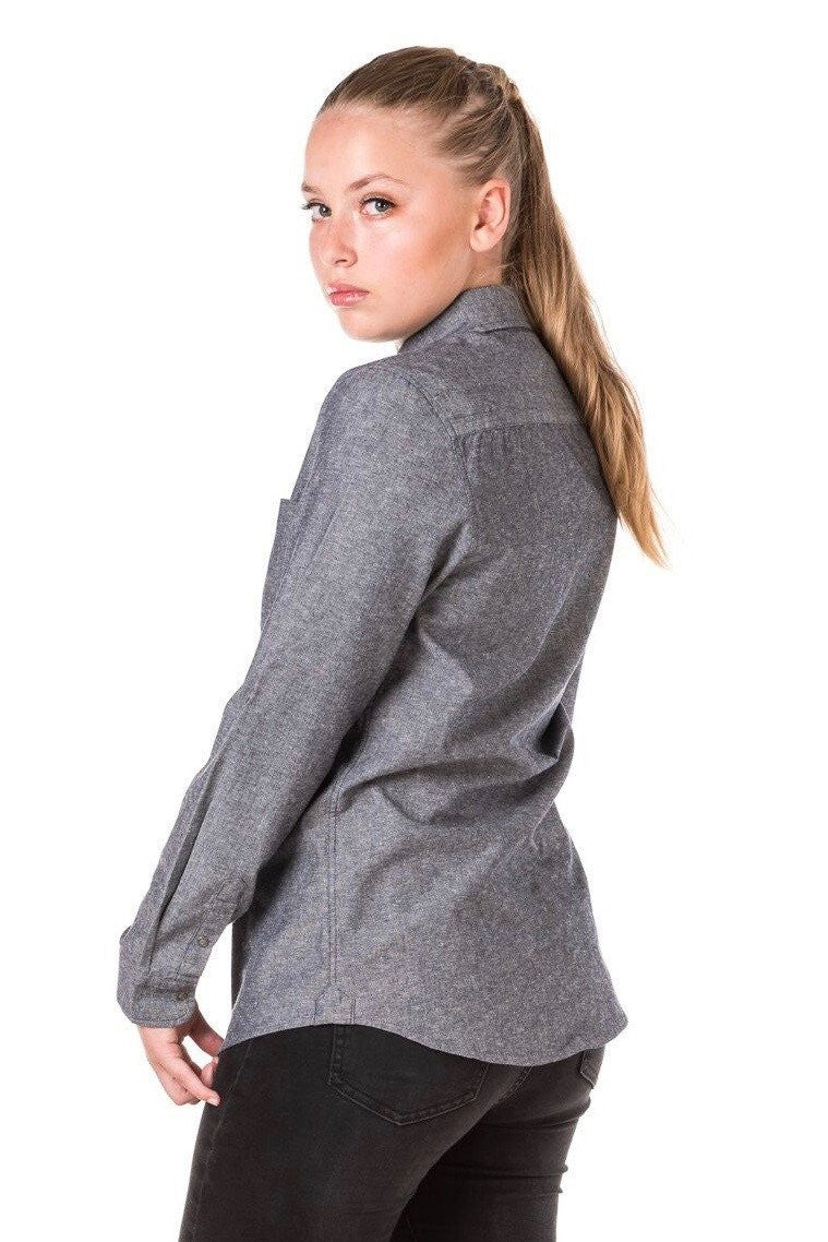 CHARLIE Long Sleeve shirt with Black tab and metal snaps Woman's - SLATE