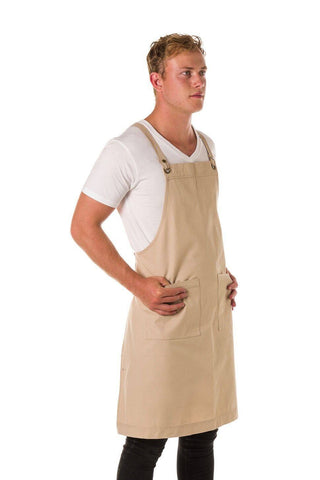 UBD BLACK Denim 2 Pkt BERMUDA Apron with PU Leather Black Straps