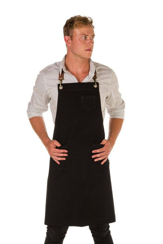 ORLANDO Apron with Leather neck strap and 3 pkts - BLACK/ TAN